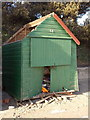 SZ1892 : Mudeford: beach hut destroyed by the storm by Chris Downer