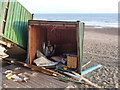 SZ1391 : Southbourne: looking into a ruined beach hut by Chris Downer