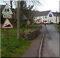 ST4492 : 14% gradient north to the Woodlands Tavern in Llanvair Discoed by Jaggery