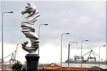 J3577 : Seahorse sculpture near Belfast harbour (1) by Albert Bridge