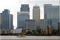TQ3880 : Canary Wharf from the Thames Path by Steve Daniels