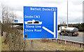J3478 : Direction sign, M2, Belfast (February 2014) by Albert Bridge