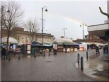 SJ9399 : Rainbow over Ashton Market by Bill Boaden