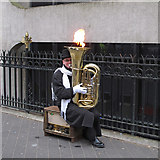 TQ2679 : Tuba with flame by Roger Jones