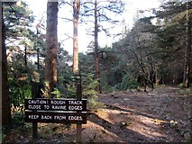 J3629 : Warning sign at the top of the lower section of the Donard Trail by Eric Jones