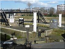 TQ3882 : Looking across Bow Tidal Locks by Marathon