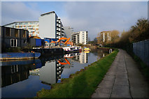 TQ3783 : Flats overlooking the River Lea by Ian S