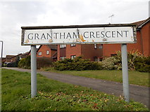 TM1543 : Grantham Crescent sign (looking left from Stone Lodge Lane) by Hamish Griffin