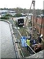 SP2965 : Soil survey or testing beside bridge 46, Grand Union Canal, Warwick by Robin Stott