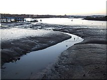 """TQ7568 : """"The Bourne"""" flows into the River Medway, Chatham by Chris Whippet"""
