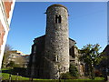TG2209 : Round flint church tower in Norwich by Richard Humphrey