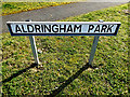 TM4461 : Aldringham Park sign by Adrian Cable