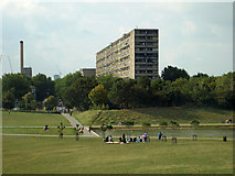 TQ3377 : The west end of the remodelled and extended lake, Burgess Park by Robin Stott