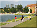 TQ3377 : Strolling by the remodelled and extended lake, Burgess Park by Robin Stott