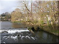 SK2268 : Weir and sluices on the River Wye by Humphrey Bolton