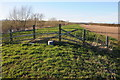SO8735 : Fence on a flood bank by Philip Halling