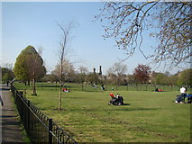 TQ3286 : View of the Castle Climbing Centre from Clissold Park by Robert Lamb