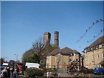 TQ3286 : View of the Castle Climbing Centre from Green Lanes by Robert Lamb
