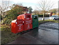 ST2788 : Donation bins, Squires Gate, Rogerstone, Newport by Jaggery