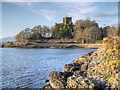 NM8531 : Port Mor and Dunollie Castle by David Dixon