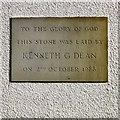 SJ8991 : Triangle church foundation stone by Gerald England