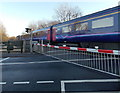 ST1176 : First Great Western train speeds through St Fagans level crossing by Jaggery