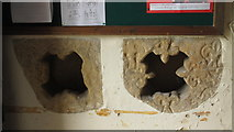NY9371 : St. Giles Church, Chollerton - architectural fragments in porch by Mike Quinn