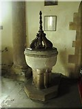 NY9371 : St. Giles Church, Chollerton - font by Mike Quinn