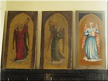 NY9371 : St. Giles Church, Chollerton - panel behind altar (2) by Mike Quinn