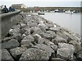 SS9746 : Rock armour, Minehead sea front and harbour by Robin Stott
