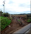 ST4491 : Muddy entrance to a field south of Llanvair Discoed by Jaggery