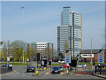 SO9198 : Ring Road and Victoria Hall, Wolverhampton by Roger  Kidd