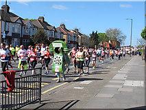 TQ4077 : London Marathon 2014: mobile phone by Stephen Craven