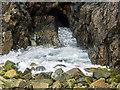HU6972 : Blowhole near Lamba Stack, Out Skerries by Julian Paren