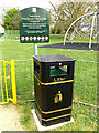 TQ0994 : Playground sign & Litter Bin  at King George V Playing Fields by Adrian Cable
