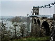 SH5571 : Menai Suspension Bridge from the South by Chris Heaton
