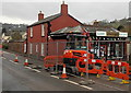 SO6706 : Temporary fencing near Blakeney post office by Jaggery