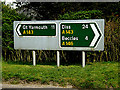 TM4394 : Roadsigns on the A143 Yarmouth Road by Adrian Cable