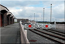 ST1167 : Level crossing gates at the edge of Waterfront Platform, Barry by Jaggery