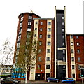 J3474 : Belfast - High Rise Dwelling at East End of Albert Bridge over River Lagan by Suzanne Mischyshyn