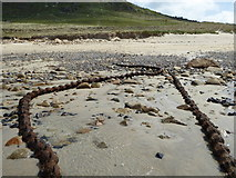 SW3526 : Cables exposed on Sennen Beach by Rod Allday