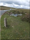 SX7476 : Boundary stone at Hemsworthy Gate by David Smith