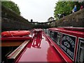 SE0623 : Two narrowboats in Lock 1, Rochdale Canal by Christine Johnstone