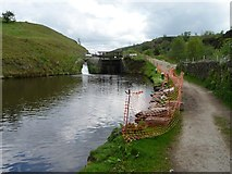 SD9321 : Safety fencing below Winterbutlee Lock, Rochdale Canal by Christine Johnstone