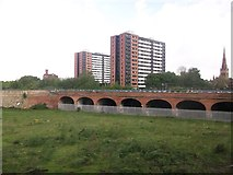 SJ8298 : Railway arches west of Salford Central by John Firth