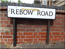 TM0321 : Rebow Road sign by Hamish Griffin