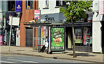 J3674 : Connswater bus stop (EWAY), Belfast - May 2014(2) by Albert Bridge