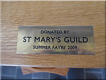 SP7006 : St Mary, Thame: donation plaque (2) by Basher Eyre
