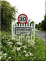 TM1378 : Stuston Village Name sign by Adrian Cable
