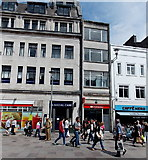 ST1876 : Santander bank and Caffè Nero in Cardiff city centre by Jaggery